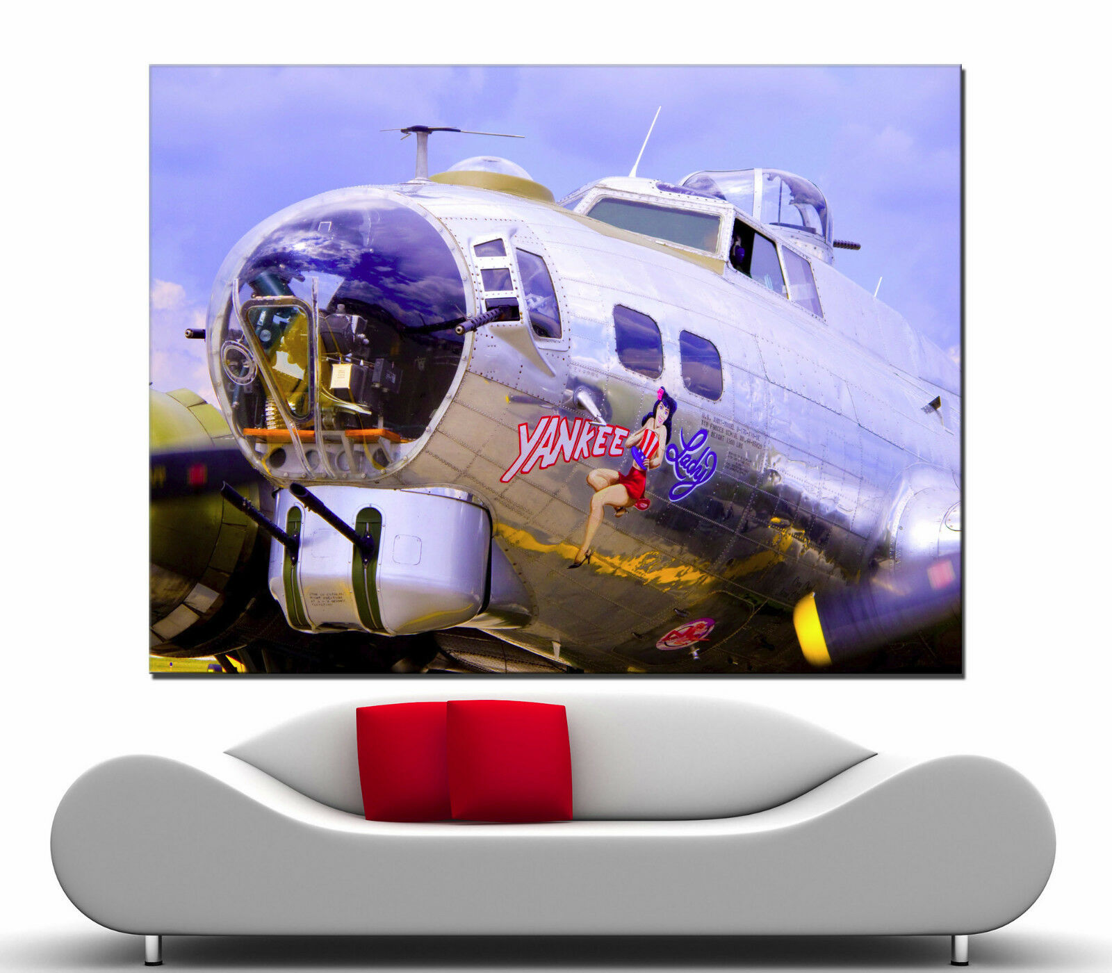 Canvas Fine Wall Art Home Prints American Aviation Yankee Lady Picture Print 1