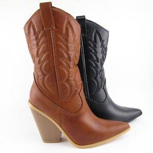 stivali-stivaletti-donna-eco-pelle-marroni-texani-cowboy-tacco-largo-punta