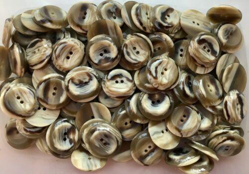 GRANDE 28mm 44L Marrone Crema Marmo Swirl 2 FORI Cappotto Giacca Bottoni LUCIDO Y66x