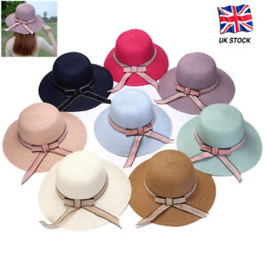 5e1552614 Details about New Ladies Summer Straw Foldable Travel Sun Hat Women's Beach  Caps Bowknot