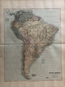 London Atlas Map.Details About 1894 South America Large Antique Map From Stanford S London Atlas