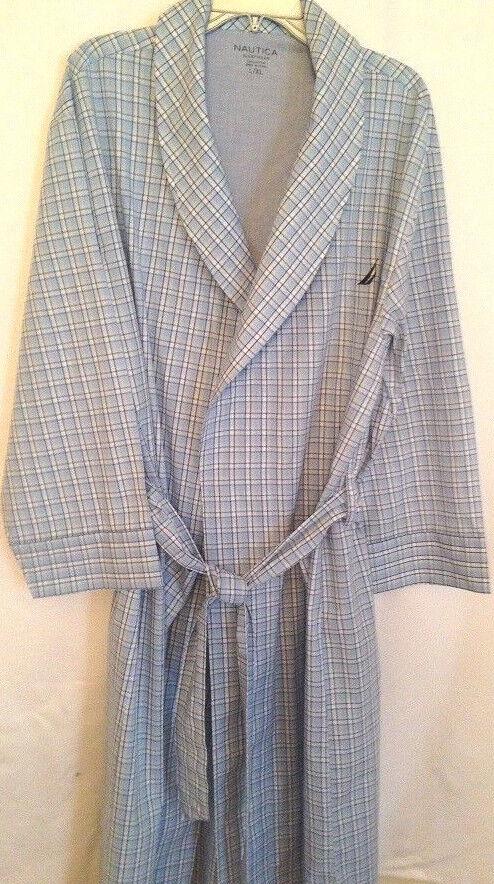 Robe Nautica herren Größe L XL baumwolle new tie belt shawl halsband pockets plaid