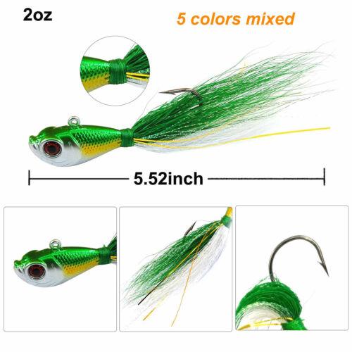 5PCS Bucktail Jig Fluke Lures Jigging Lure Saltwater Bass Fishing Lure 1//4-2oz