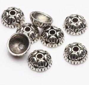 50Pcs Beautiful Tibet Silver Charms Round Bead Caps Jewelry Findings DIY 10x4mm
