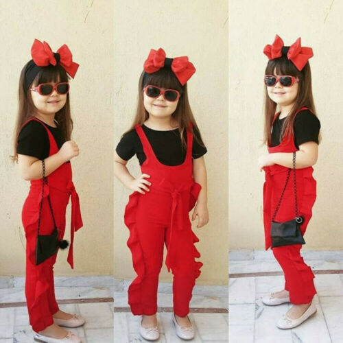 Toddler Kids Baby Girls Sleeveless Strap Pants Frill Romper Jumpsuit Clothes US