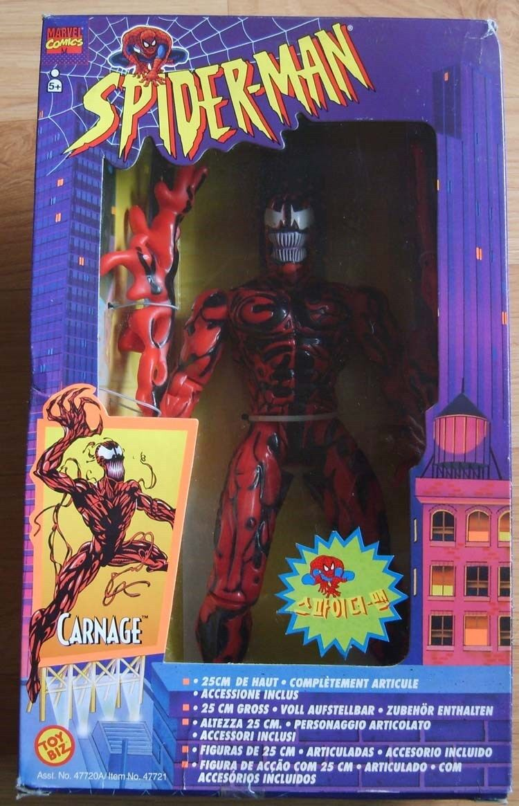 TOY BIZ MARVEL 1995 1995 1995 10'' CARNAGE ACTION FIGURE DELUXE EDITION  MIB 94fa73