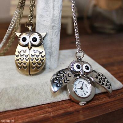 Unique Vivid Cute Cartoon Owl Design Pocket Watches Pendent Necklace Keychain