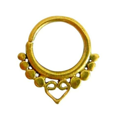 Tribal Brass Septum 18g Nose Ring Pierced Jewelry Piercing Tragus 1mm Love Heart