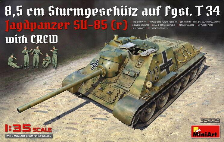 MiniArt Models 1 35 Gun Jagdpanzer Su-85 (r) 8.5cm STUG auf Fgst. T34 w Crew