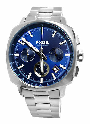 Fossil CH2983 Haywood Blue Chronograph Date Dial Silver Steel Bracelet Watch New