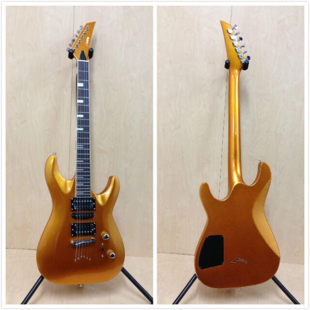Full Size Haze Electric Guitar,Through-Neck,Gold+Free Gig Bag,3 Picks- SEG-258GD