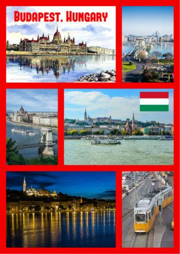 FLAG // SIGHTS // NEW // GIFTS HUNGARY SOUVENIR NOVELTY FRIDGE MAGNET BUDAPEST