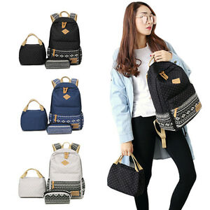 a365c08522 Details about Fashion Canvas School Backpack for Girls Boys Book Bag with  Pencil Lunch Bag Set