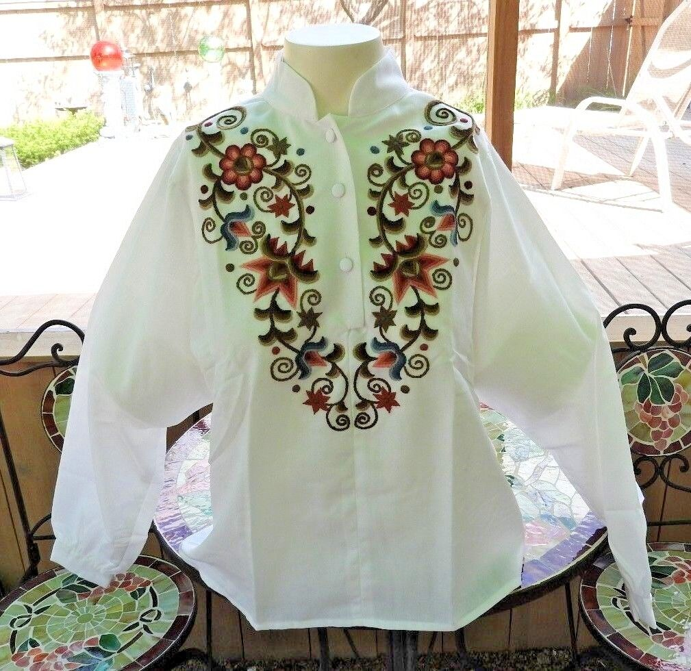 Vintage 80's Blouse Embroidery Hungarian Traditio… - image 2