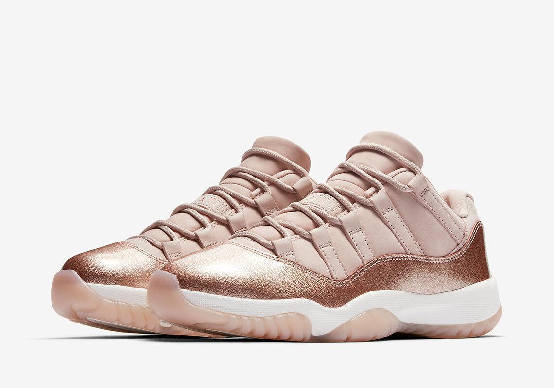 Nike air jordan 11 xi basso rose d'oro metallico, uomo di bronzo ah7860-105