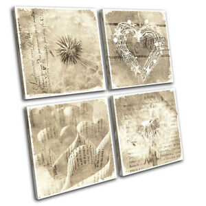 Elegant Image Is Loading Shabby Chic Floral Type Vintage MULTI CANVAS WALL
