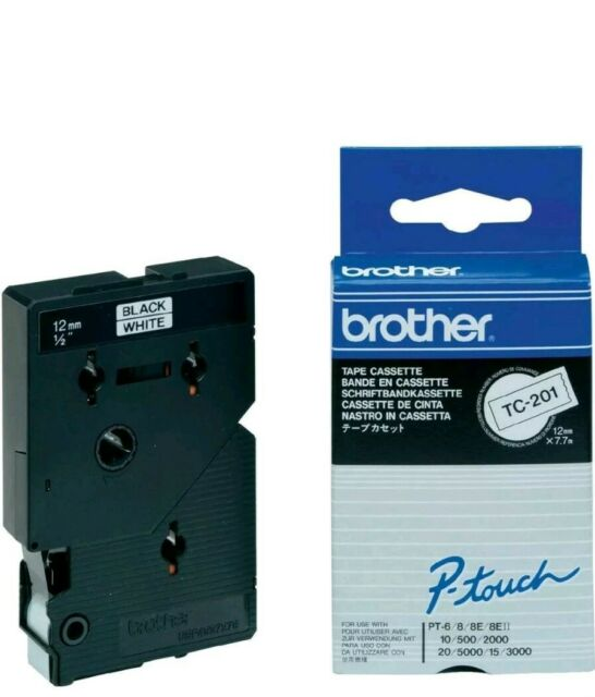 Brother P-Touch TC-201- 12mm Black/White Tape - BRTC201