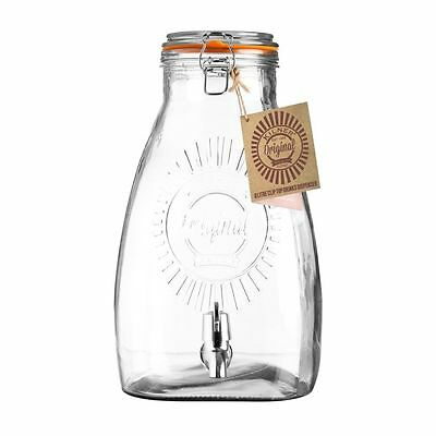 Kilner Glass Square Drinks Dispenser 8L For Beverages Ideal for Party's & BBQ