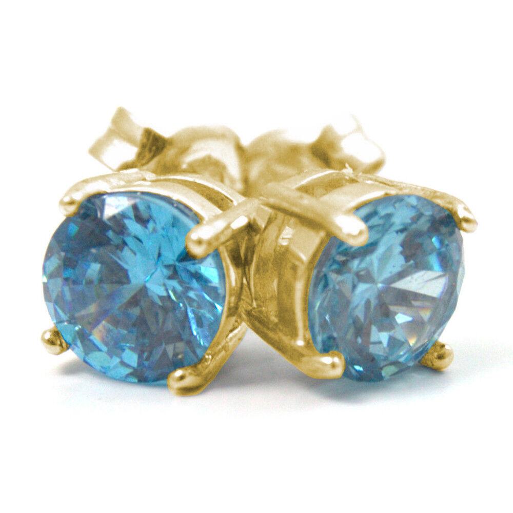 Diamond-Unique Aquamarine 2ct Solitaire 9ct gold Stud Earrings