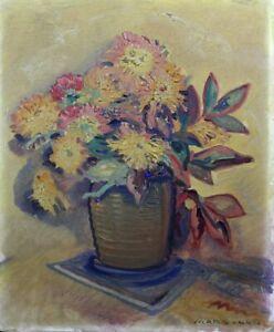 Marc-luc (xxe S.) Bouquet De Fleurs Huile Fauvisme Provence Nature Morte