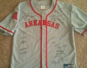 best service dd26e ca06c Details about 2015 Arkansas Razorback Team Signed Baseball Jersey Omaha CWS  Andrew Benintendi