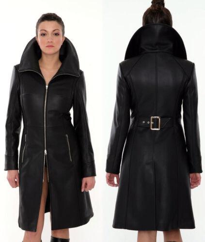 Women Steampunk Coat Black Genuine Leather Fetish Knee Length Kink Dress