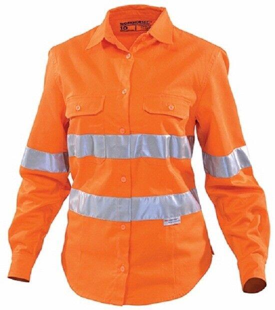 Workhorse HI-VIS damen VENTED SHIRT WSH029 Long Sleeve Orange-Größe 18,20 Or 22