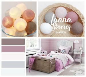 Details About Lp431 White Grey Misty Rose Mauve Cedar Brown Cotton Ball String Lights Bedroom