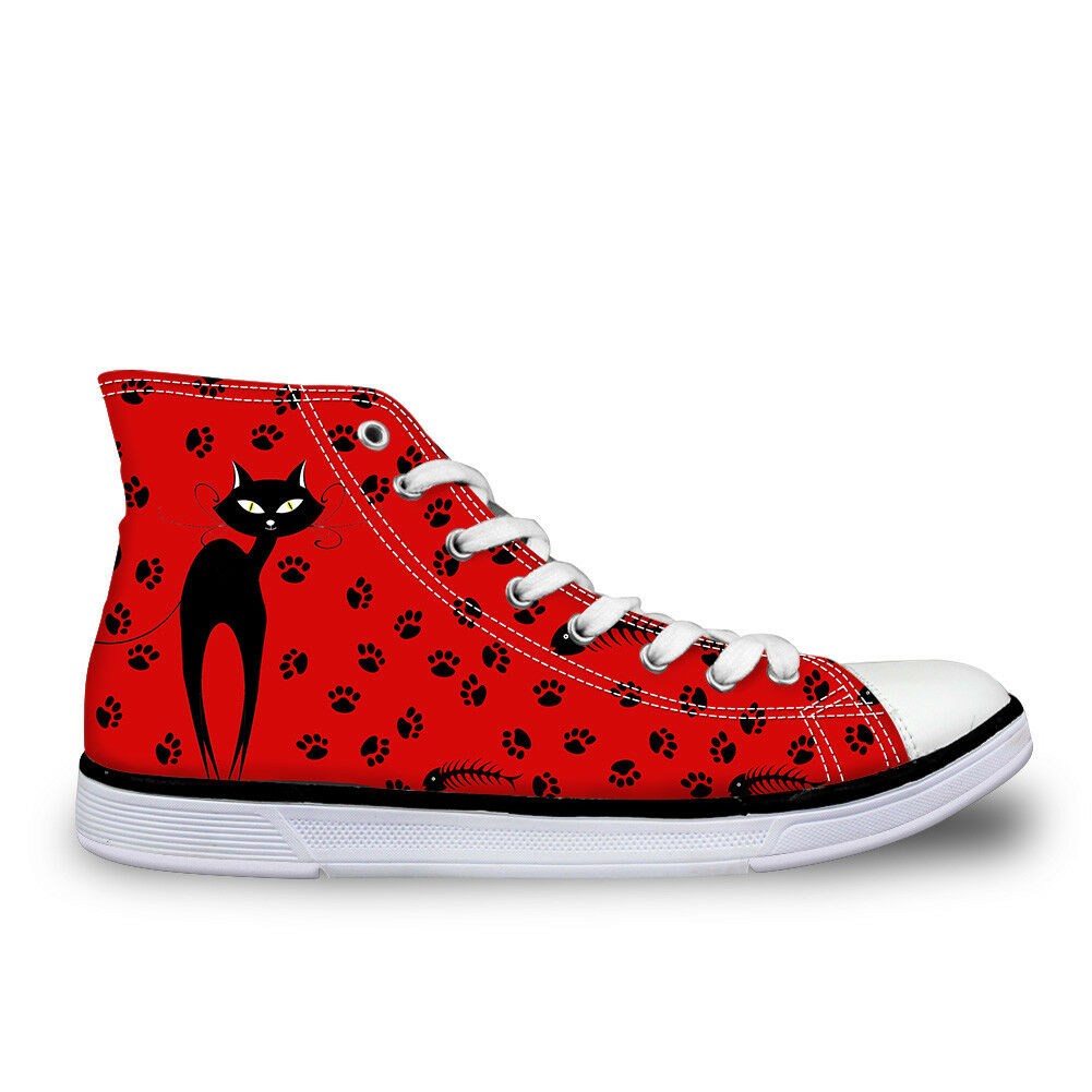 Cute Cartoon Cat Pattern Womens Canvas shoes Hi-Top Causal Sports shoes Sneakers
