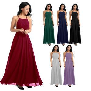 9e5b58e99886 Image is loading Women-Backless-Long-Maxi-Chiffon-Bridesmaid-Dress-Evening-