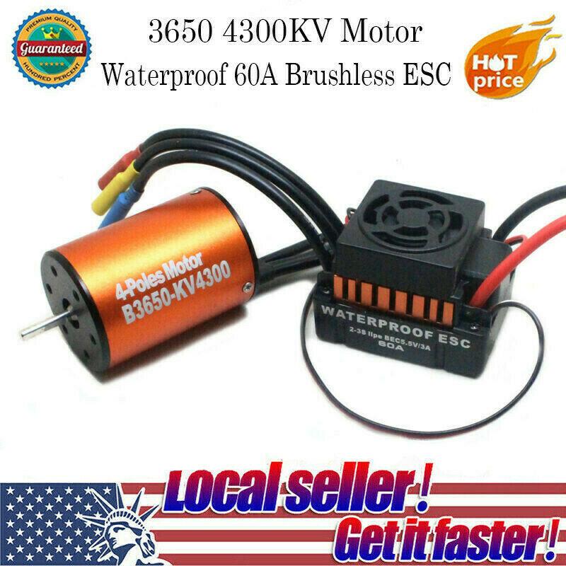 Waterproof 3650 4300KV Brushless Motor + 60A ESC Combo Set f
