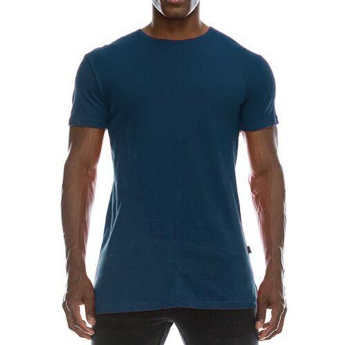 Mens Fashion Hip Hop Solid Extended Hemline Split Side T-Shirt Muscle Blouse