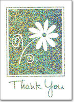 Flower On Holographic Foil - Box Of 25 Thank You Note Cards By Ps Greetings