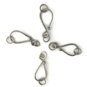 Hook-amp-Eye-Clasps-4pcs-Silver-Plated-Handmade-Beading-Jewelry-Making-CL449b