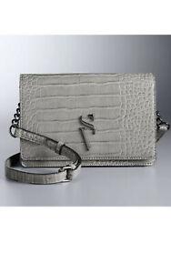 Simply Vera Vera Wang Leena Grey Crocodile Envelope Crossbody Bag - NWOT