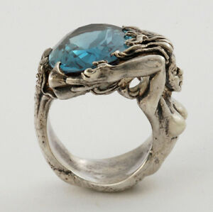 Handcrafted-Beautiful-Sterling-925-Full-Figured-of-A-Mermaid-Holding-Ocean-Ring
