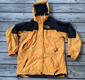 The North Face Womens Medium Windbreaker Jacket Retractable Hoodie Yellow Ebay