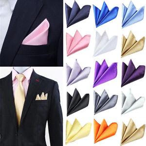 Homme-Satin-De-Soie-Poche-Solide-Carre-Fete-De-Mariage-Bureau-Hankerchief-Costume-Hanky