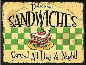 Delicious-Sandwiches-Served-All-Day-Und-Nacht-Stahl-Zeichen-400mm-x-300mm-Ogu