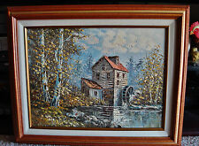 Illegibly Signed WaterMill Oil Painting on Canvas - Nicely Framed - Decorative +