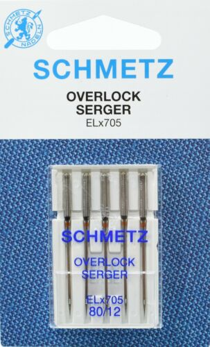 10 Schmetz Nähmaschinen Overlocknadeln Serger ELx705 NM 80 Flachkolben
