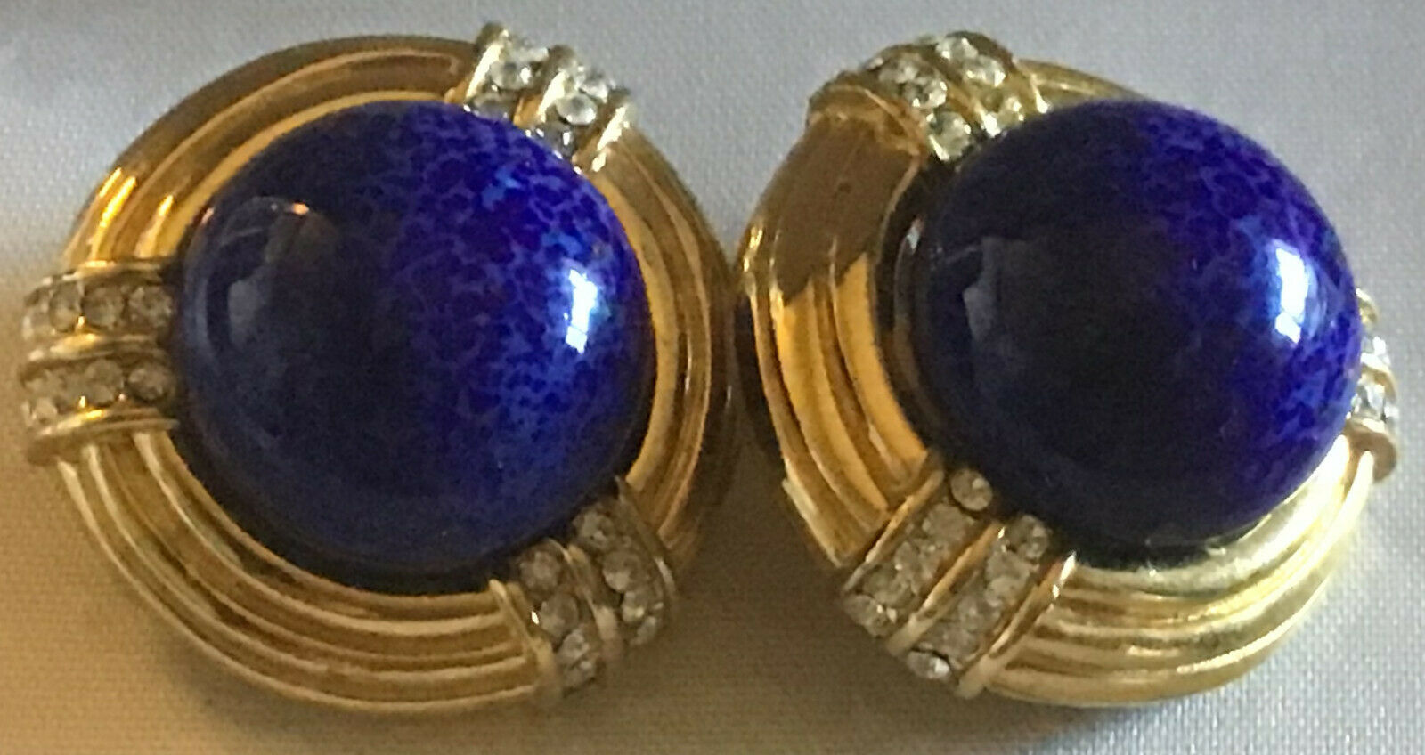 Vintage Ciner Large Faux Lapis Cabochon Dome Pave Rhine & goldtone Earrings