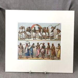 1876-Antico-Stampa-Tradizionale-Indiano-Empire-Abito-Racinet-Storico-Costume