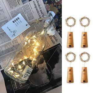 4x-20-LED-Weinflasche-Kork-String-Light-Nacht-Lichterkette-Flaschenlicht-DE-ILO