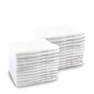 1 Lb Quality 600 New White Cotton Blended Wash cloths 12x12 50 Dozen Bulk Case