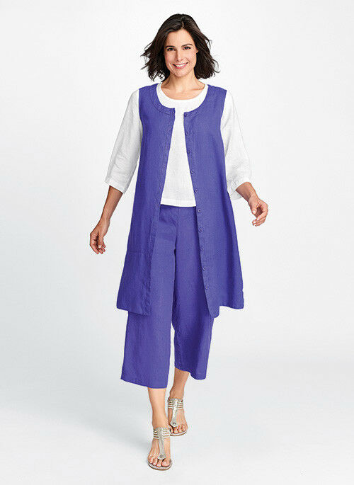 FLAX Designs   LINEN DRESS  S & M & L   NWT  MariGold Layer  2018 BOLD lila