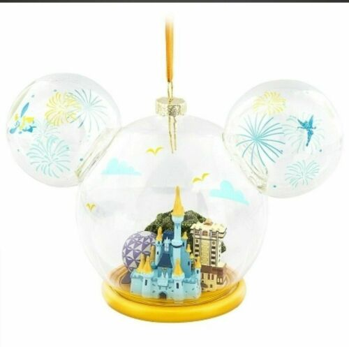 NWT Disney Parks Mickey Mouse Glass Globe Holiday Christmas Ornament