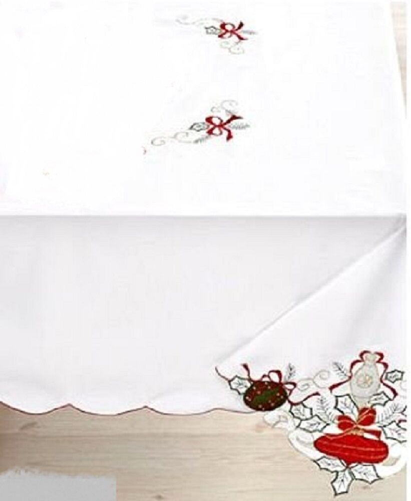 Homewear Tablecloth Holiday Ornaments Oblong Gold Thread Gold Embellishments