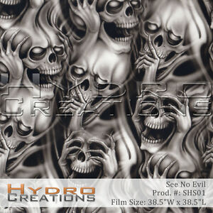 Hydrographic film Skulls see no hear no do no evil extreme 7/' hydro Dip Dipping