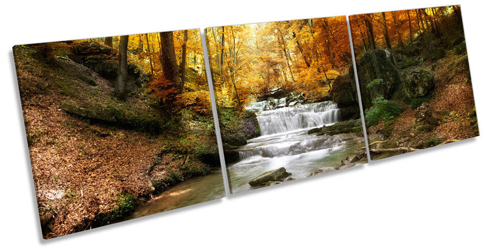 Waterfall Forest River Landscape TREBLE CANVAS WALL ART Box Frame Print